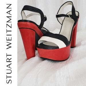 Stuart Weitzman Red Black Off White Color Block